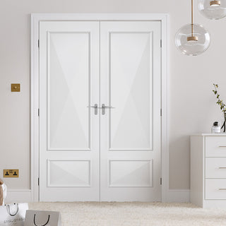 Image: Knightsbridge 2 Panel Fire Door Pair - Raised Mouldings - 1/2 Hour Fire Rated - White Primed