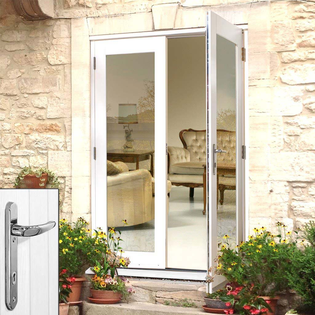 La Porte White French Door Pair & Frame Set - Chrome Fittings