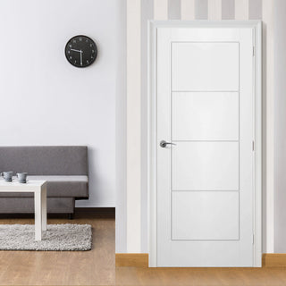 Image: White Fire Door, Ladder 4 Panel Smooth Door - 1/2 Hour Rated - White Primed