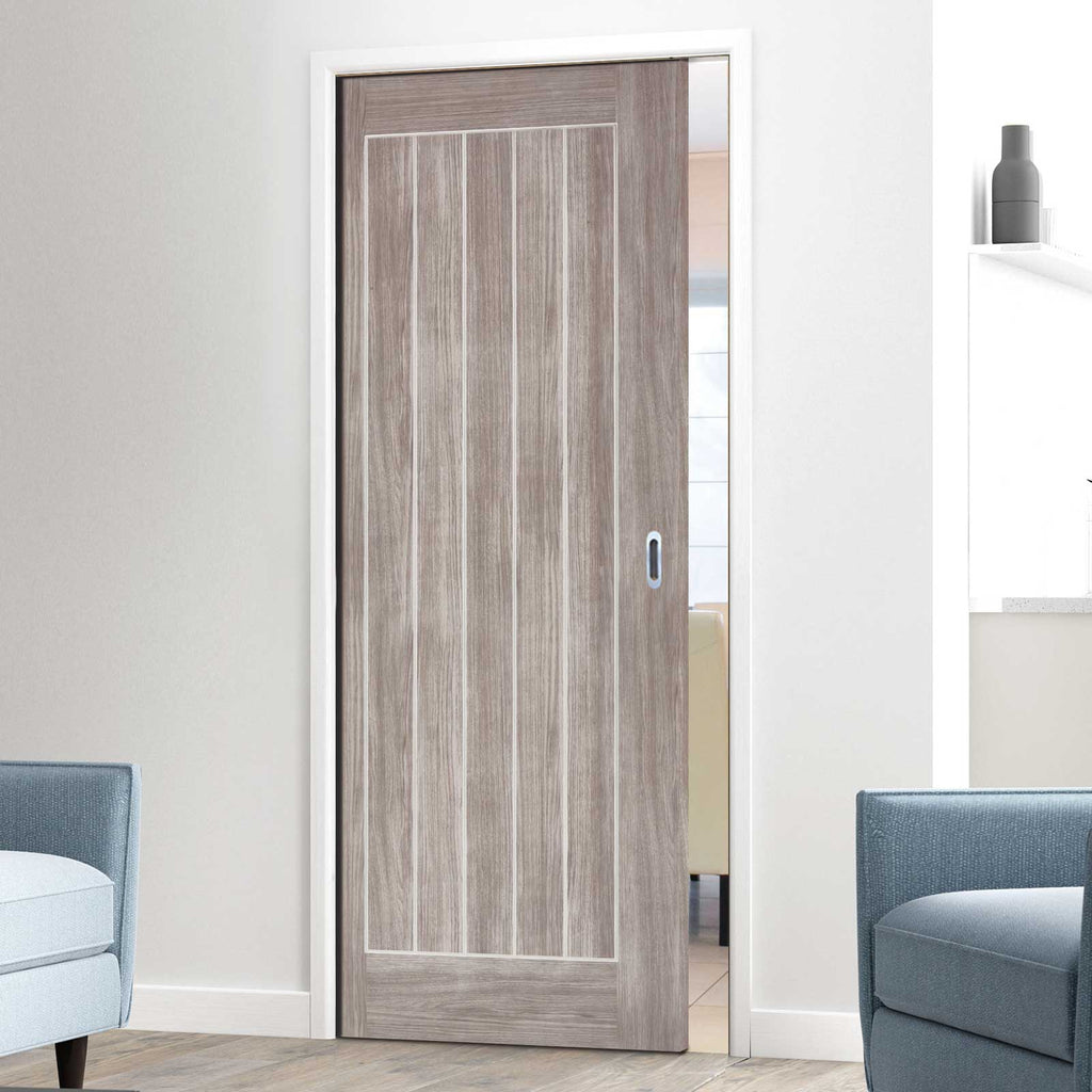 Laminate Mexicano Light Grey Single Evokit Pocket Door - Prefinished