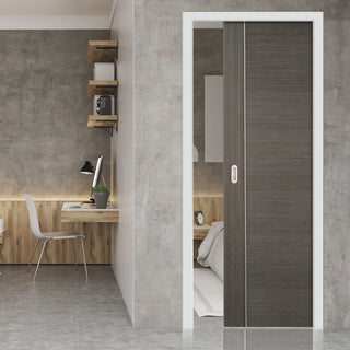 Image: Chocolate Grey Alcaraz Single Evokit Pocket Door - Prefinished
