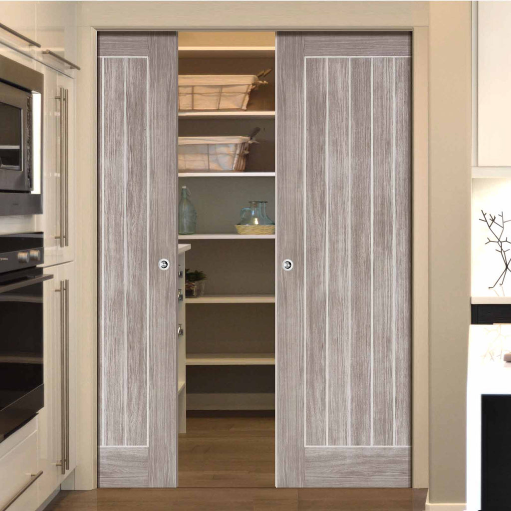 Laminate Mexicano Light Grey Double Evokit Pocket Doors - Prefinished