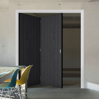 Image: Two Folding Doors & Frame Kit - Laminate Montreal Black 2+0 - Prefinished