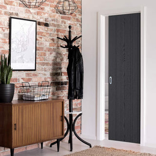 Image: Laminate Montreal Black Single Evokit Pocket Door - Prefinished