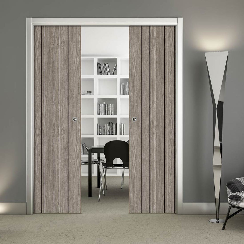 Laminate Montreal Light Grey Double Evokit Pocket Doors - Prefinished