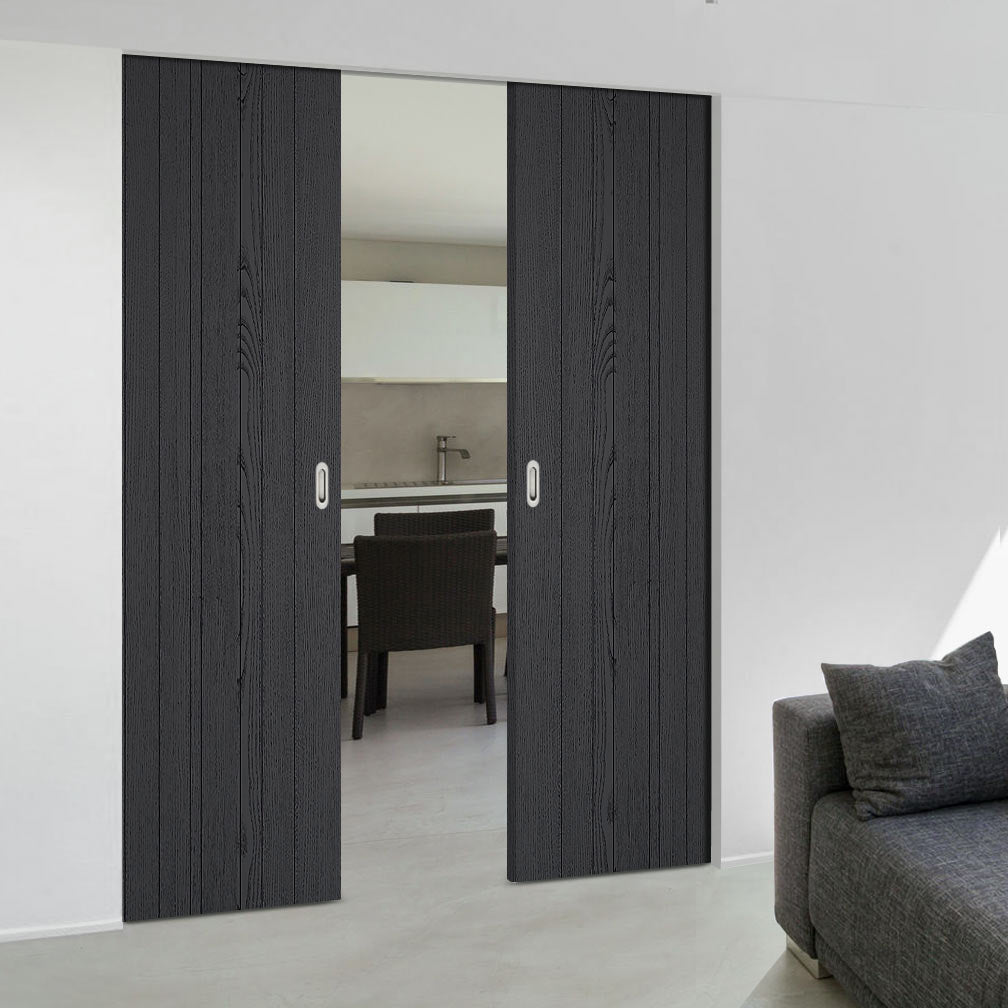 Laminate Montreal Black Absolute Evokit Double Pocket Door - Prefinished