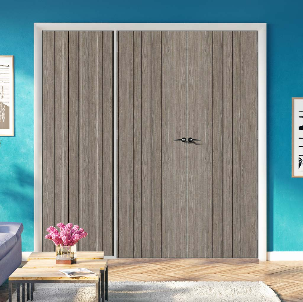 ThruEasi Room Divider - Laminate Montreal Light Grey Prefinished Double Doors with Single Side - 2018mm High - Multiple Widths