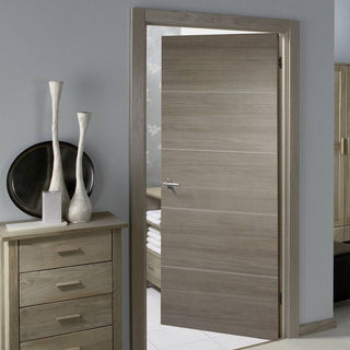 Image: Laminate Santandor Light Grey Fire Door - 1/2 Hour Fire Rated - Prefinished