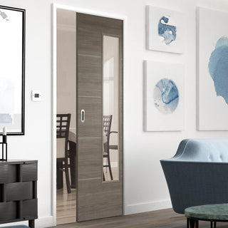 Image: Laminate Santandor Light Grey Single Evokit Pocket Door - Clear Glass - Prefinished