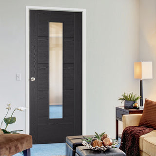 Image: Laminate Vancouver Black Door - Prefinished - Clear Glass - Prefinished