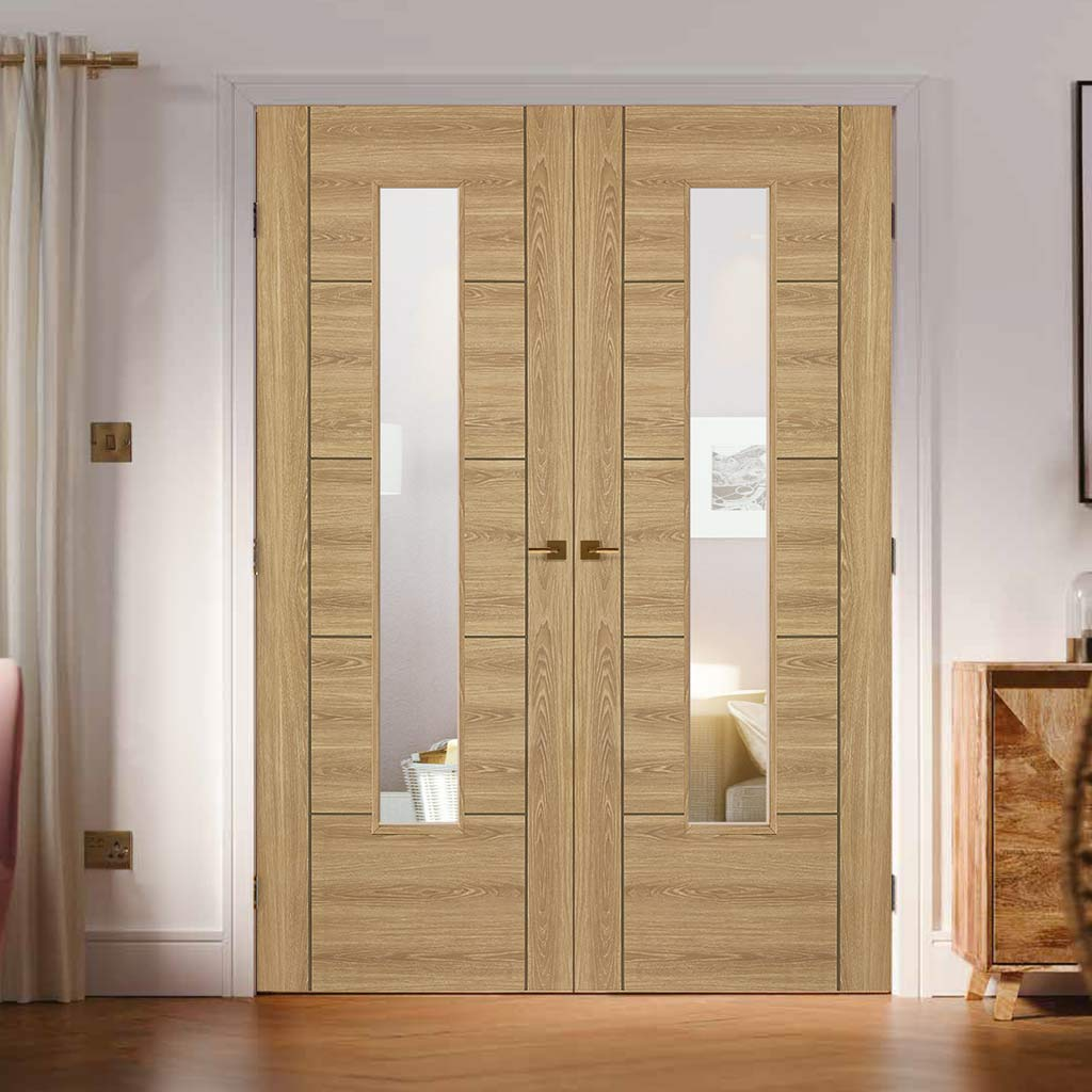 Laminate Vancouver Oak Colour Door Pair - Clear Glass - Prefinished