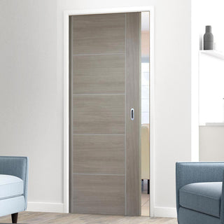 Image: Laminate Vancouver Light Grey Single Evokit Pocket Door - Prefinished