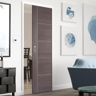 Image: Laminate Vancouver Medium Grey Single Evokit Pocket Door - Prefinished