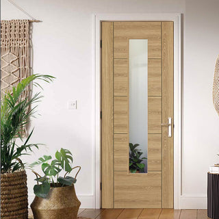Image: Laminate Vancouver Oak Colour Door - Clear Glass - Prefinished