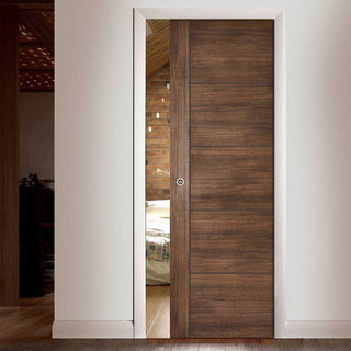 Image: Laminate Vancouver Walnut Single Evokit Pocket Door - Prefinished