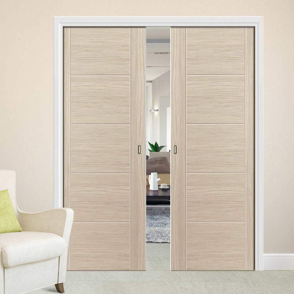 Laminates Ivory Painted Double Evokit Pocket Doors - Prefinished