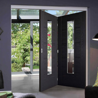 Image: Two Folding Doors & Frame Kit - Laminate Vancouver Black 2+0 - Prefinished - Clear Glass - Prefinished