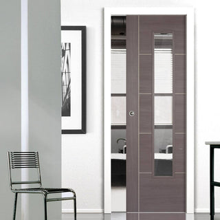 Image: Laminate Vancouver Medium Grey Single Evokit Pocket Door - Clear Glass - Prefinished
