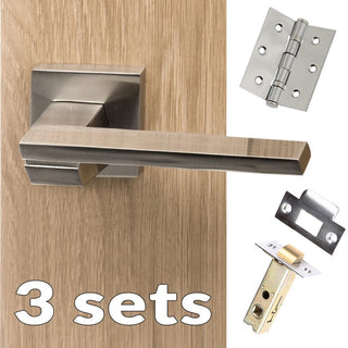 Image: Three Pack Senza Pari Giovanni Lever on Flush Rose - Satin Nickel Handle
