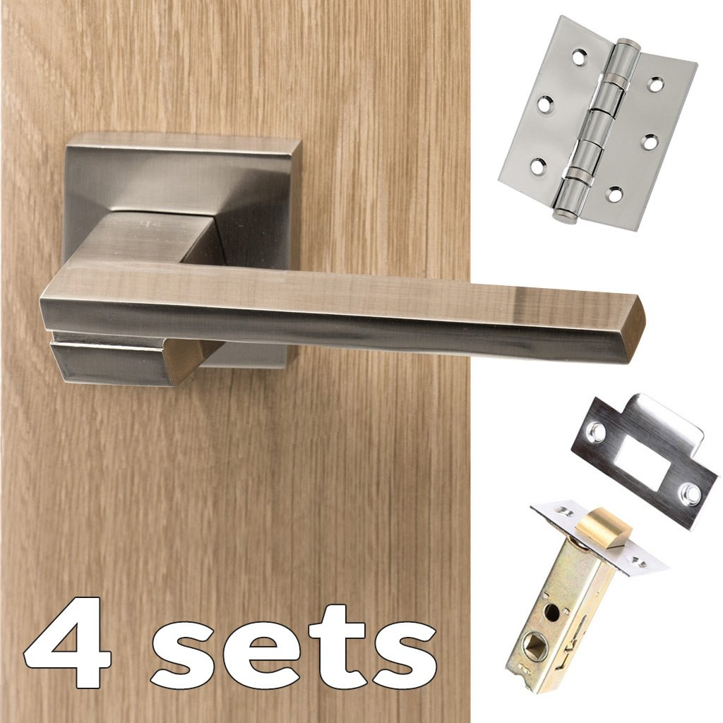 Four Pack Senza Pari Giovanni Lever on Flush Rose - Satin Nickel Handle