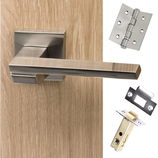 Image: Senza Pari Giovanni Lever on Flush Rose - Satin Nickel Handle Pack