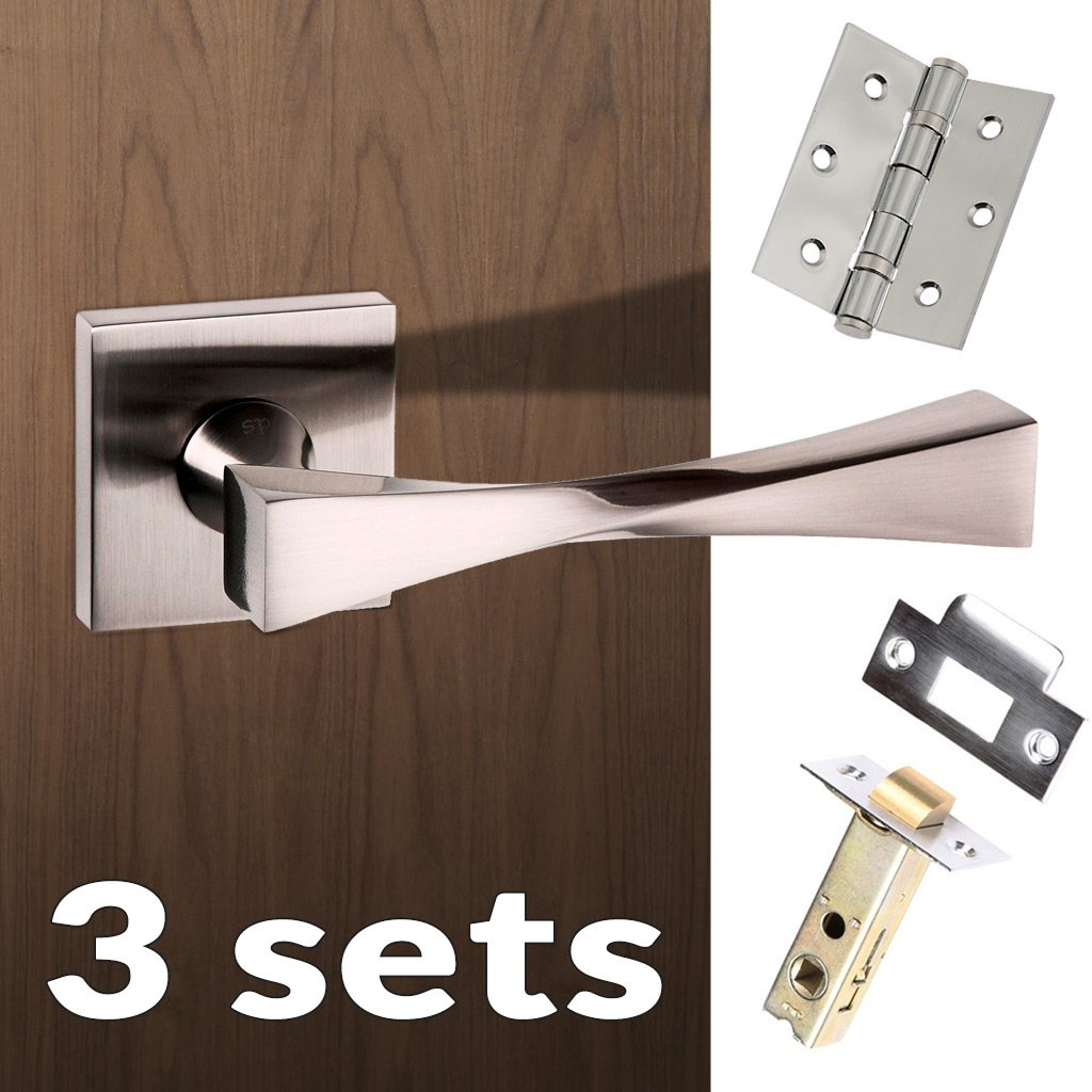 Three Pack Senza Pari Guido Lever on Flush Rose - Satin Nickel Handle