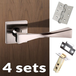 Image: Four Pack Senza Pari Guido Lever on Flush Rose - Satin Nickel Handle