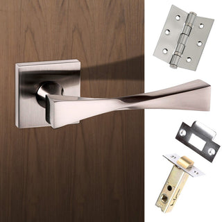 Image: Senza Pari Guido Lever on Flush Rose - Satin Nickel Handle Pack