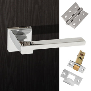 Image: Ginevra Forme Designer Lever on Minimal Square Rose - Polished Chrome Handle Pack