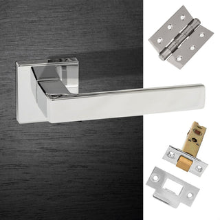 Image: Asti Forme Designer Lever on Minimal Square Rose - Polished Chrome Pack