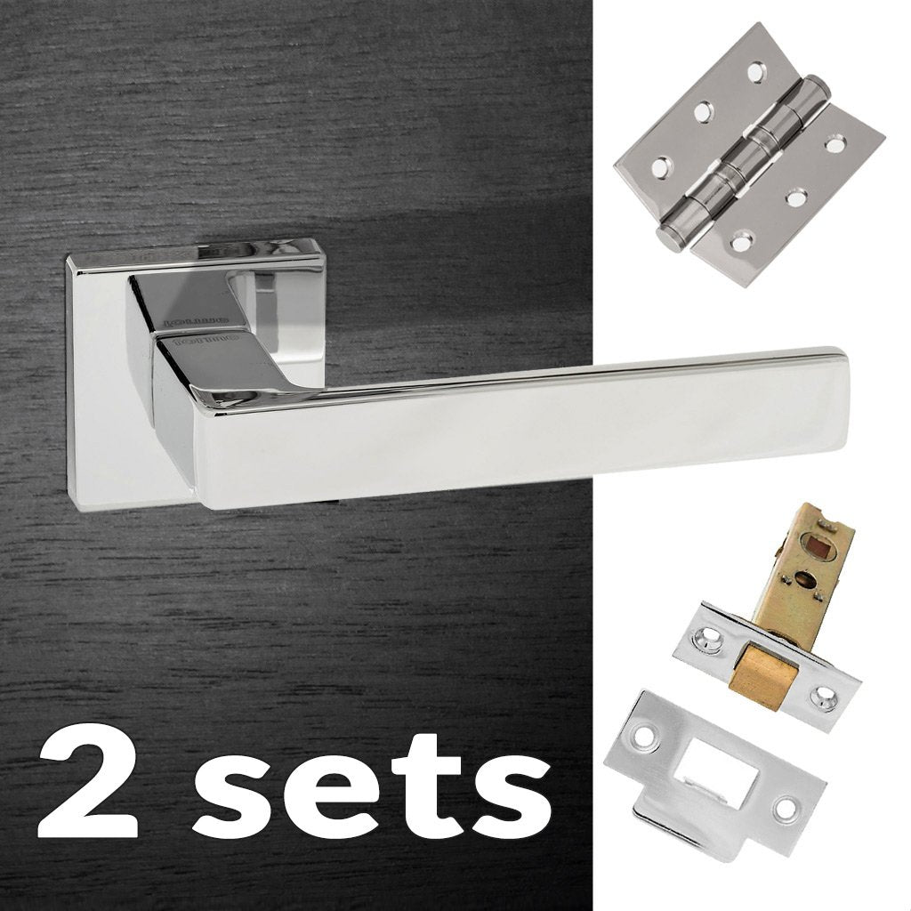 Two Pack Asti Forme Designer Lever on Minimal Square Rose - Polished Chrome Handle