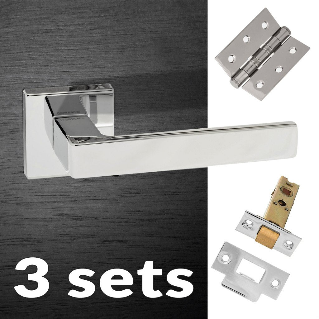 Three Pack Asti Forme Designer Lever on Minimal Square Rose - Polished Chrome Handle