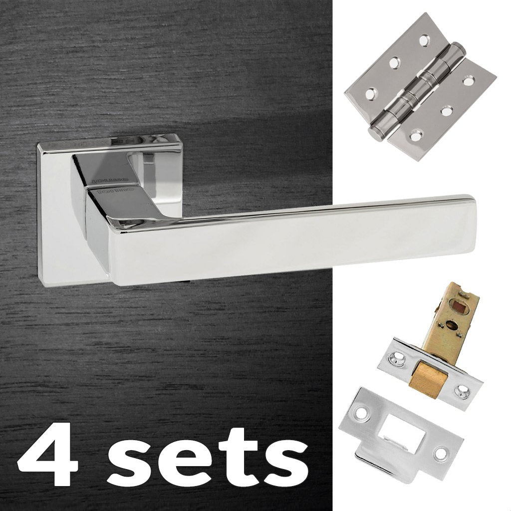 Four Pack Asti Forme Designer Lever on Minimal Square Rose - Polished Chrome Handle