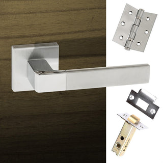 Image: Asti Forme Designer Lever on Minimal Square Rose - Satin Chrome - Polished Chrome Handle Pack