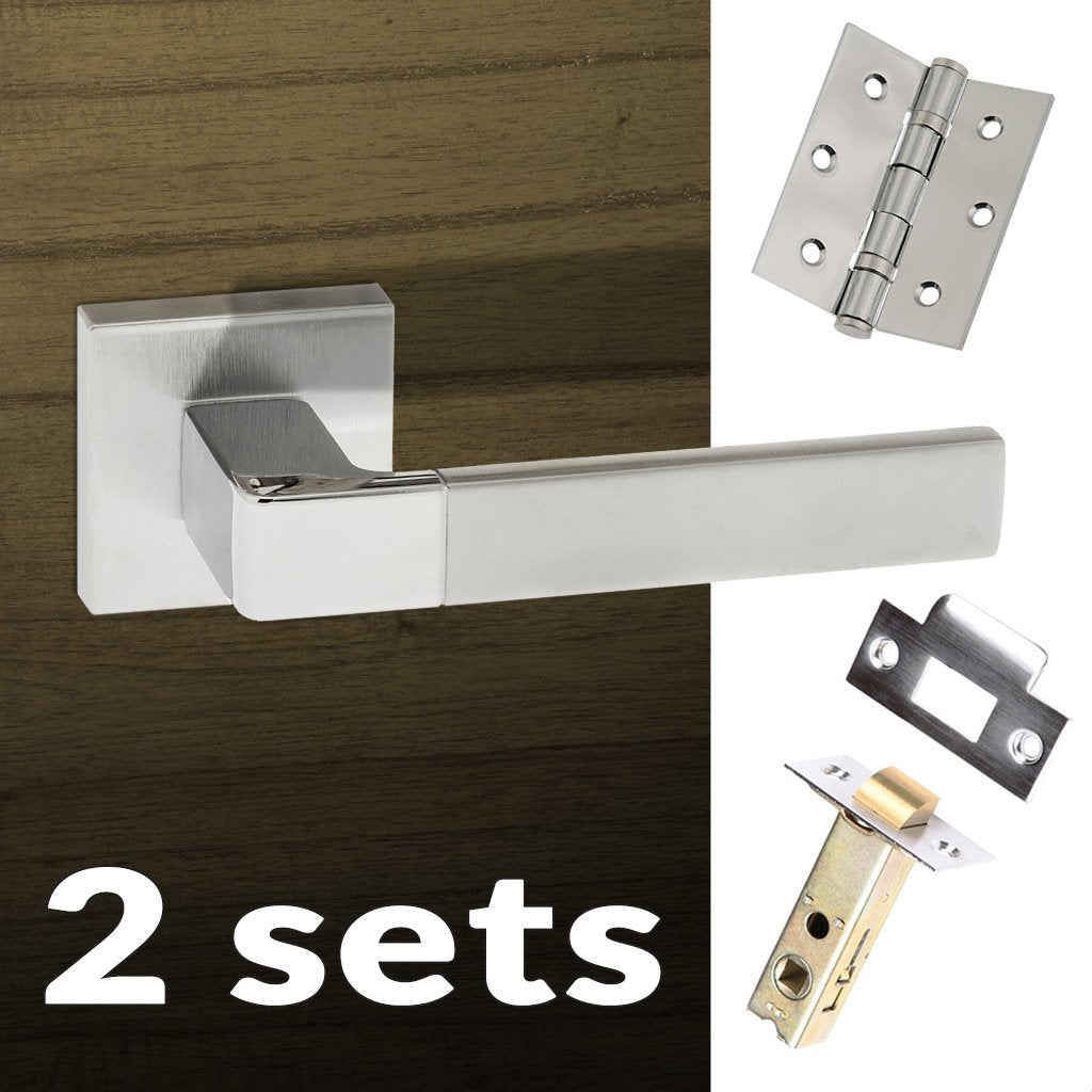 Two Pack Asti Forme Designer Lever on Minimal Square Rose - Satin Chrome - Polished Chrome Handle