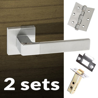 Image: Two Pack Asti Forme Designer Lever on Minimal Square Rose - Satin Chrome - Polished Chrome Handle