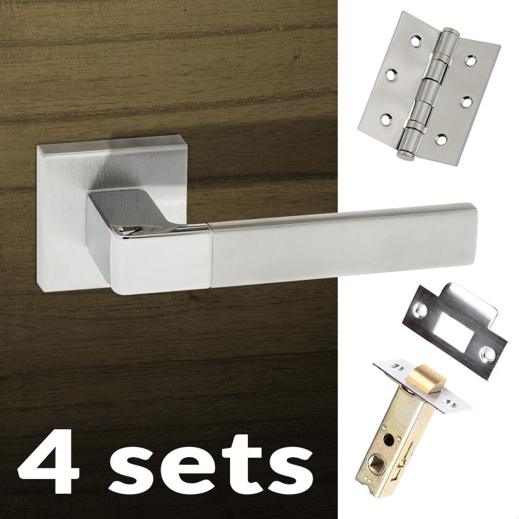 Four Pack Asti Forme Designer Lever on Minimal Square Rose - Satin Chrome - Polished Chrome Handle