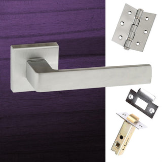 Image: Asti Forme Designer Lever on Minimal Square Rose - Satin Chrome Handle Pack