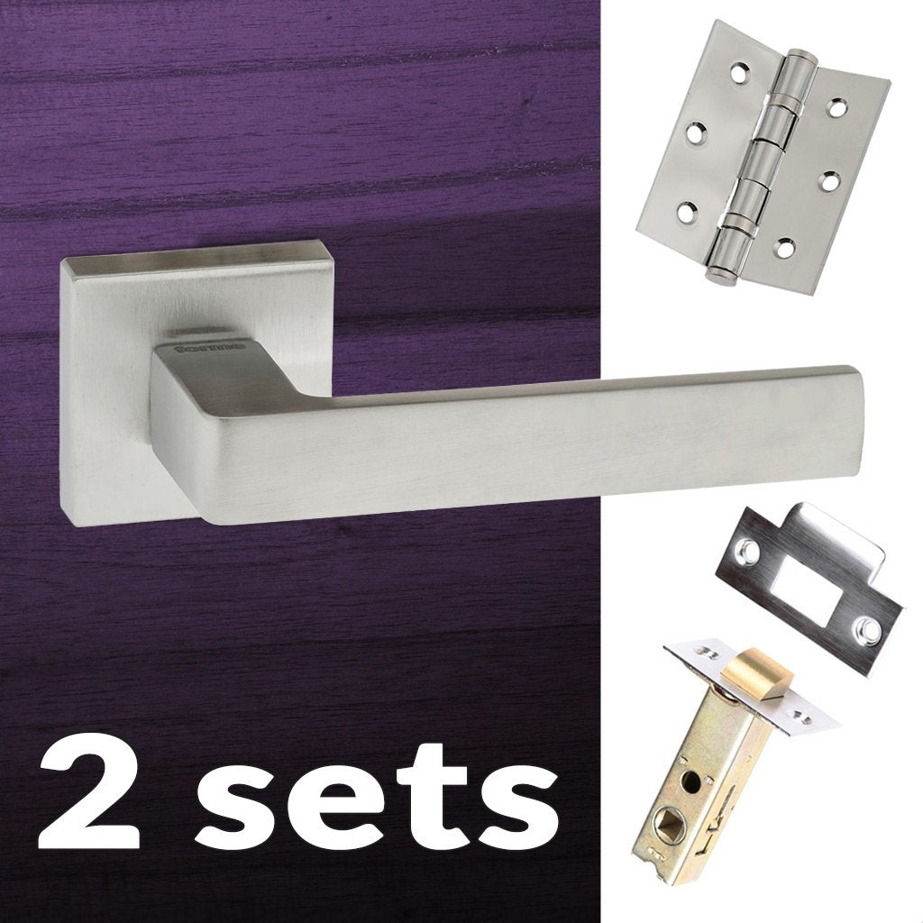 Two Pack Asti Forme Designer Lever on Minimal Square Rose - Satin Chrome Handle