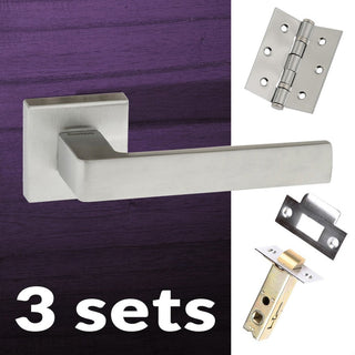 Image: Three Pack Asti Forme Designer Lever on Minimal Square Rose - Satin Chrome Handle