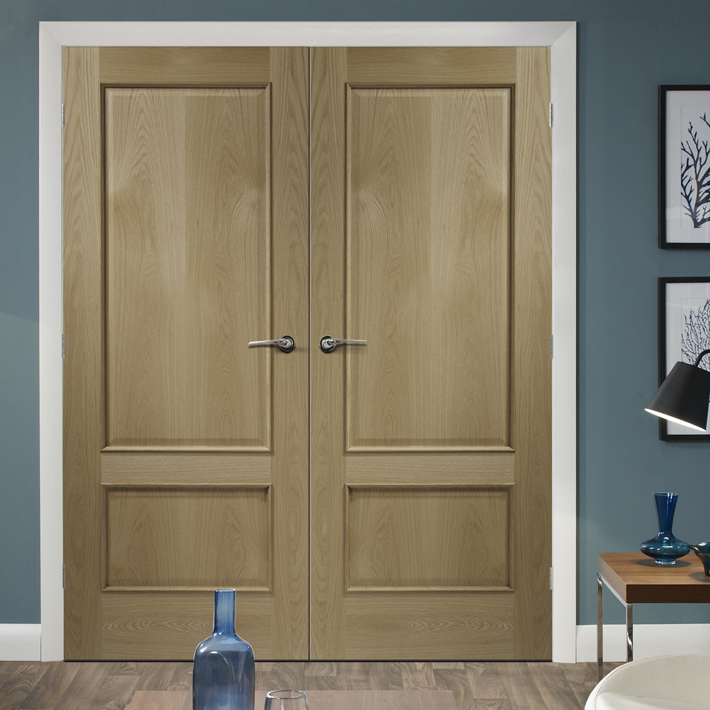Prefinished Andria Oak 2 Panel Door Pair - Raised Mouldings - Choose Your Colour