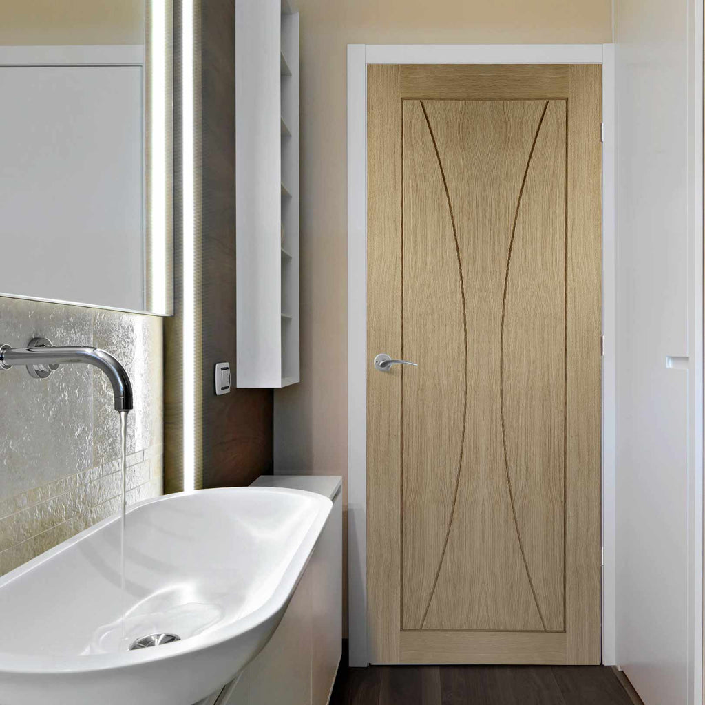 prefinished bespoke pesaro oak flush panel door