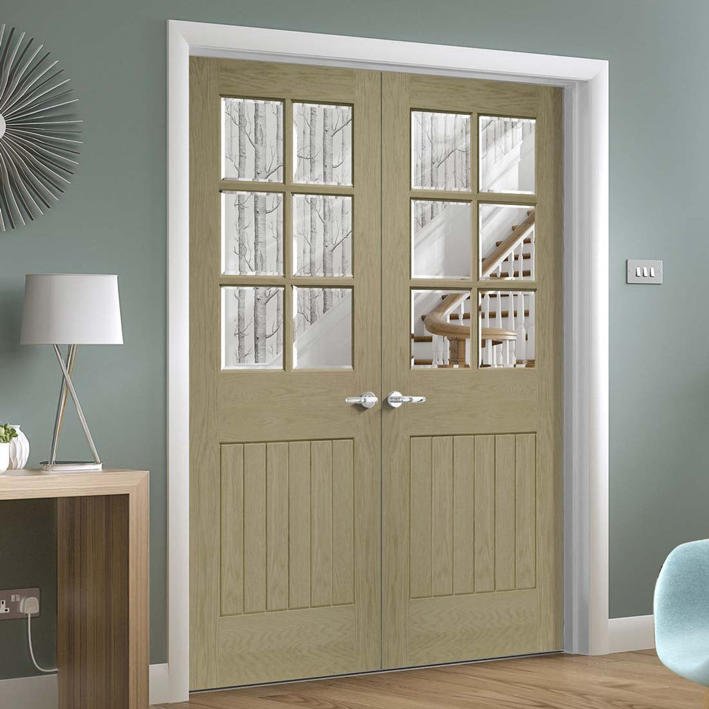 Prefinished Suffolk Oak 6 Pane Door Pair - Bevelled Clear Glass - Choose Your Colour