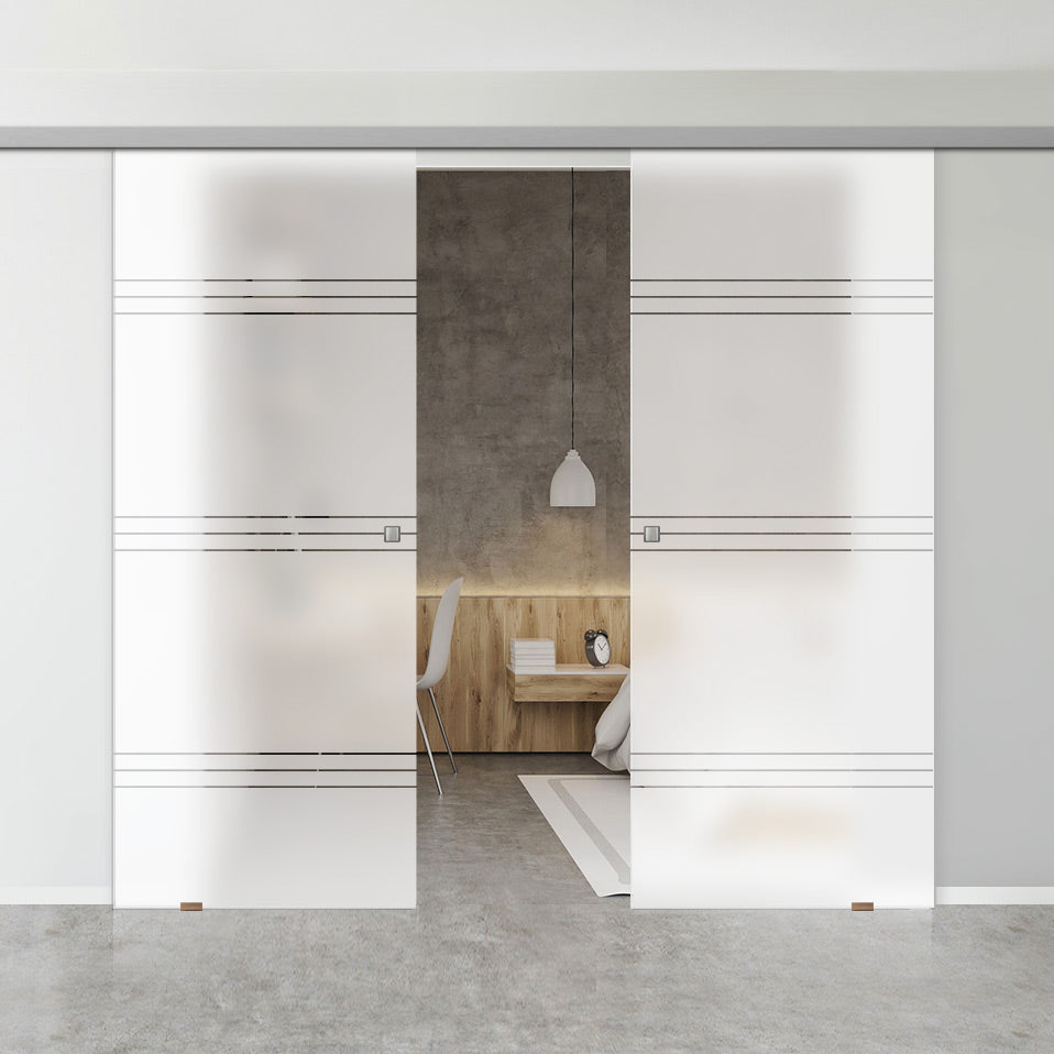 Double Glass Sliding Door - Lauder 8mm Obscure Glass - Clear Printed Design - Planeo 60 Pro Kit