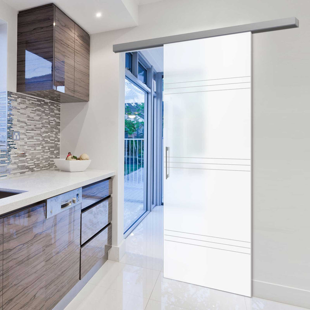 Single Glass Sliding Door - Lauder 8mm Obscure Glass - Obscure Printed Design - Planeo 60 Pro Kit