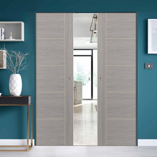 Image: Laminates Lava Painted Absolute Evokit Double Pocket Doors - Prefinished