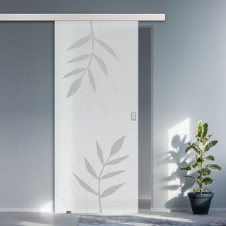 Image: Single Glass Sliding Door - Leaf Print 8mm Obscure Glass - Obscure Printed Design with Premium Track