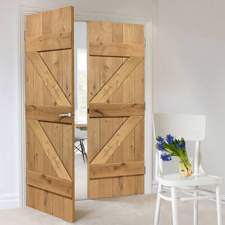 Image: J B Kind Rustic Oak Ledged and Braced Unfinished Door Pair