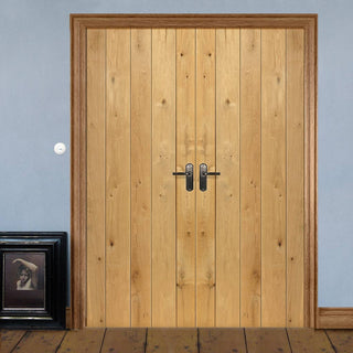 Image: J B Kind Rustic Oak Ledged Unfinished Door Pair