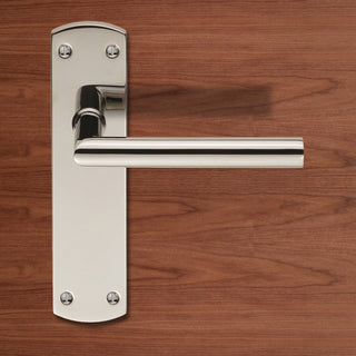 Image: Steelworx CSLP1162B Mitred Lever Handles on Latch Backplate - 2 Finishes